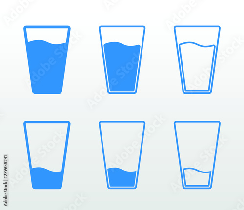 Fototapeta Full and empty glass of water flat icon set (single color, outline and fill) obraz