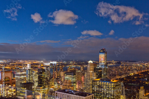 Cityscape of Manhattan at twilight, view from the Top of the Rock observation deck at Rockfeller Center, Manhattan, New York City, USA