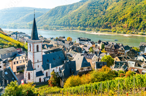 Canvas Print Hony Cross Church in Assmannshausen, the Upper Middle Rhine Valley in Germany