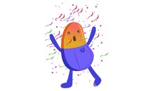Vector Cartoon Illustration Of Bean Dancing. Isolated On White Background.
