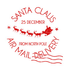 Santa Claus Air Mail Delivery Sign Or Stamp