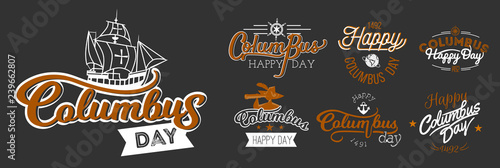 Obraz na plátne Happy Columbus Day logo sign flat set