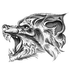 The Vector Logo Wolf For T-shirt Design Or Outwear.  Hunting Style Wolf Background.