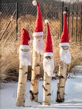 Four Santa-claus Garden Gnomes
