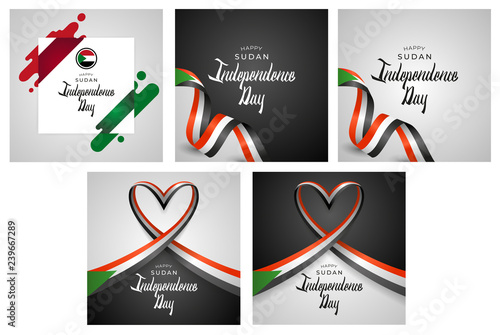 Fotografie, Obraz  Republic of the Sudan Independence Day Vector Template Design Illustration Set