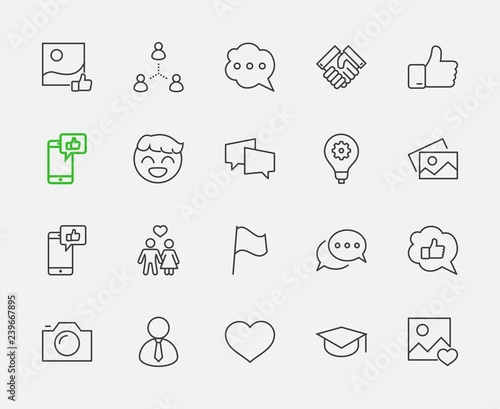 Photo  Set of Social Networks Related Vector Line Icons