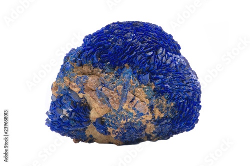 Photo Bright blue full Azurite nodule from Russia isolated on white background