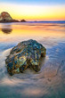 canvas print picture Rocks in the Water at Dawn on the Beach