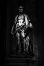 Saint Bartholomew Sculpture In The Milan Cathedral (Duomo Di Milano) In Black And White, Milan,  Italy, Europe