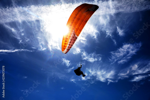 Door stickers Sky sports Paragliding on the sky