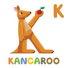 K Is For Kangaroo. Letter K. Kangaroo, Cute Illustration. Animal Alphabet.