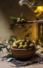 Virgin Olive Oil Falling On A ...