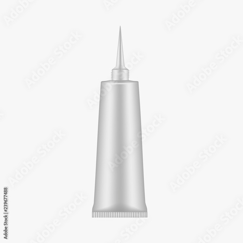 Photo Open squeeze tube container with thin applicator, mock-up