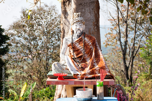 Obraz na plátne Hermit statue images at outdoor in Wat Phrachao Thanchai and Phra That San Kwang