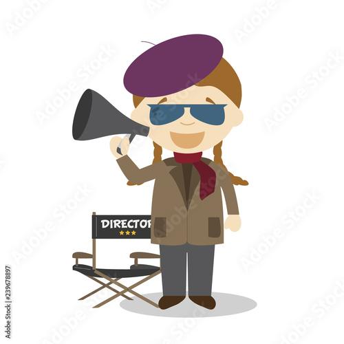 Fotografia, Obraz Cute cartoon vector illustration of a filmmaker