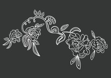 Vector Illustration Of Very Beautiful Amazing Fashion Embroidered Roses In Powder Pink Tones Isolated On Black Background, Can Be Used As Print For T Shirt, Decor For Clothes, Poster, Card