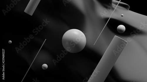 Monochrome 3d rendered abstract background with sphere and cylinders infront of wavy geometry..... - 239680227