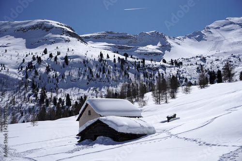Fototapety, obrazy: dolomites snow panorama big landscape hut covered by snow