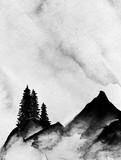 Góry we mgle ręcznie rysowane tuszem w minimalistycznym stylu. - 239685675