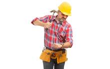 Builder Preparing To Destroy Wristwatch With Hammer.