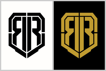 double R letter shield shape logo template
