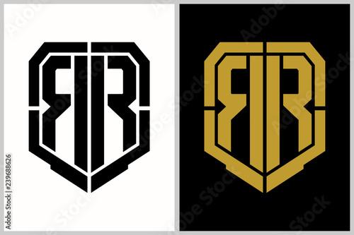 Fotomural double R letter shield shape logo template
