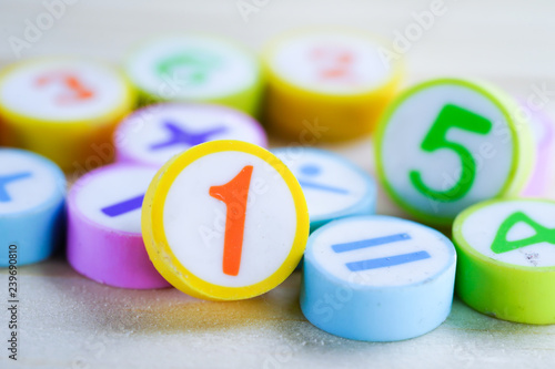 Fotografie, Obraz  Math Number colorful on wooden background : Education study mathematics learning teach concept