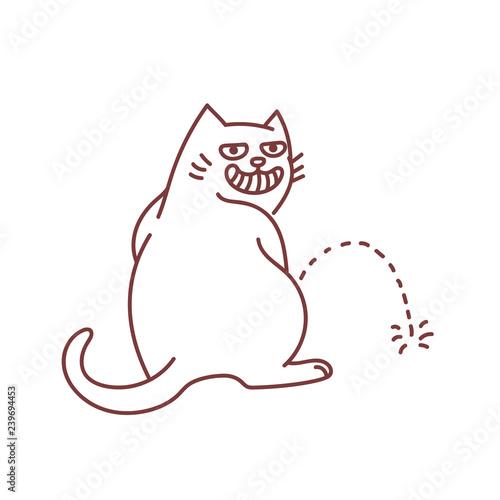 Fotomural Hooligan cat peeing on the floor