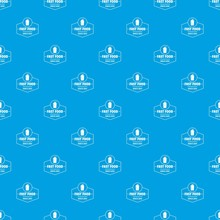 Fast Food Pattern Vector Seamless Blue Repeat For Any Use