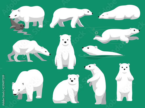 Fotografia Polar Bear Eating Seal Cute Cartoon Vector Illustration