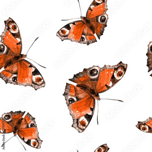 Recess Fitting Butterfly Seamless pattern of butterflies painted in watercolor.