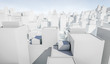 White cityscape with blue sky background. Many buildings. 3D Rendering Illustration.