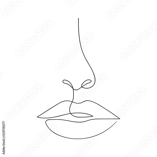 One line drawing face. Modern minimalism art, aesthetic contour. Abstract woman portrait in the minimalist style. Continuous line vector illustration Fototapete