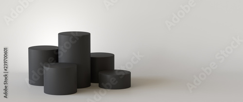 Empty black podium on white background. 3D rendering. Fototapete