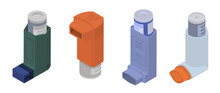 Inhaler Icon Set. Isometric Set Of Inhaler Vector Icons For Web Design Isolated On White Background