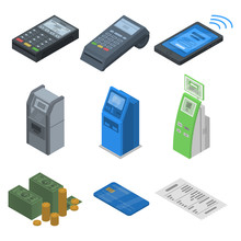 Bank Terminal Icon Set. Isometric Set Of Bank Terminal Vector Icons For Web Design Isolated On White Background