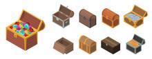 Dower Chest Icon Set. Isometri...