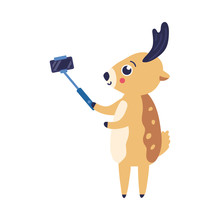 Vector Illustration Of Cartoon Reindeer Doing Selfie With Smartphone And Stick Isolated On White Background - Cute Horned Animal Photographing Himself With Camera On Mobile Phone In Flat Style.