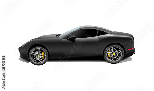 Black sport car isolated on a white background. 3d rendering. Canvas Print