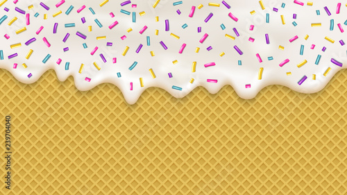 plakat Realistic white cream and wafer for wallpaper design. Vector sea