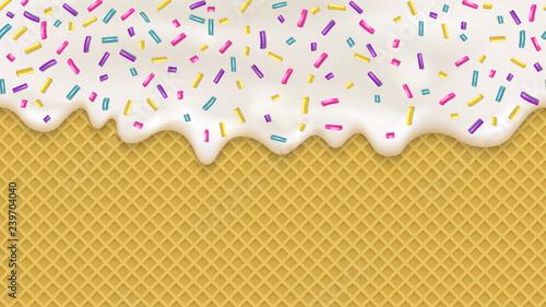 obraz lub plakat Realistic white cream and wafer for wallpaper design. Vector sea