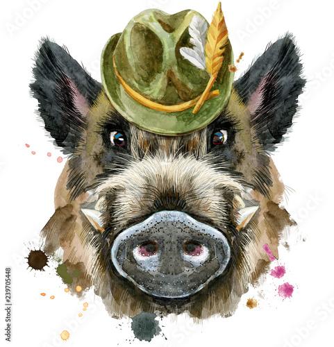 Fotografia Watercolor portrait of wild boar with green hat
