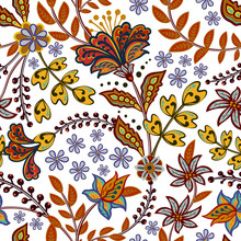 Abstract Flowers Seamless Pattern, Floral Vector Background. Fantasy Multicolored Flowers In Hot Eastern Tones On A White Backdrop. For The Design Of The Fabric, Wallpaper, Wrapper, Prints, Decoration