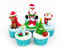 Christmas Homemade Cupcakes On White Background