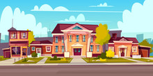 Vector Rental Of A House, Estate. Cartoon Illustration Of Cottage Rent, Sell. Facade Of A Private Building With An Empty Plate. Exterior With Urban Construction, Sidewalk And Asphalt Road.