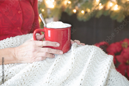 Christmas photograph of a woman's hands holding a bright red mug of hot chocolat Canvas Print