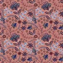 Abstract Flowers Seamless Pattern, Floral Vector Background. Fantasy Multicolored Flowers In Blue Tones On A Brown-red Backdrop. For The Design Of The Fabric, Wallpaper, Wrapper, Prints, Decoration