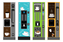 Big Colored Set Different Types Coffee Machine