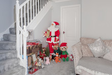 Life Sized Santa And His Elf A...