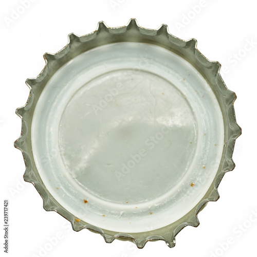 Blank white beer lid mock up, back side, top view. Empty metal soda cap mock up design template. Clear bottle cover isolated.